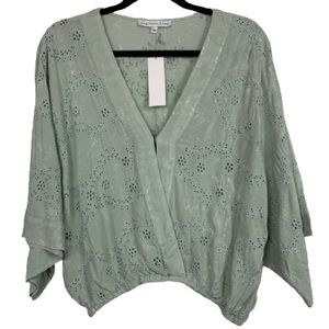 NWT Young, Fabulous & Broke Bell Sleeve Eyelet Top